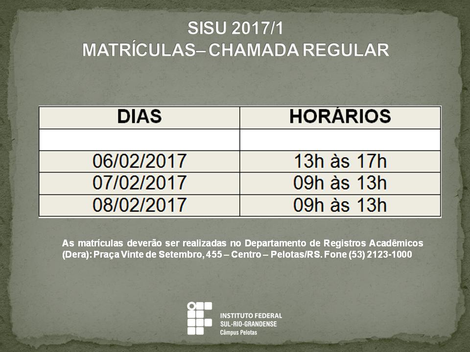 Matrículas Sisu 2017/1
